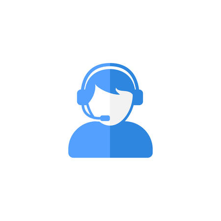 Customer support or customer service agent with headset flat vector icon designs