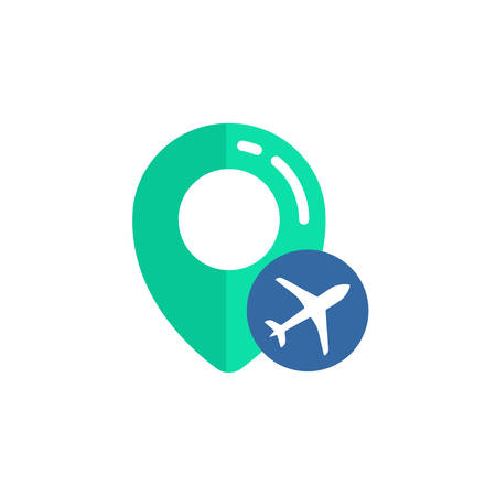 pin of airport location icon vector design. pin map sign with plane symbol designs