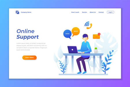 vector illustration of online support or contact support. illustration of customer services landing page