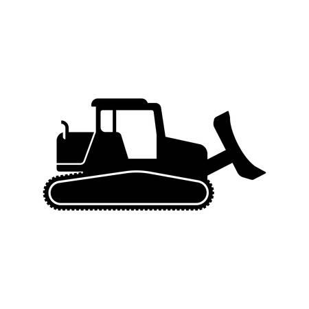 bulldozer vector icon illustration. silhouette of Bulldozer in flat design. Stock Illustratie