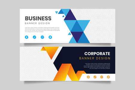 Geometric business banner design template. Corporate banner