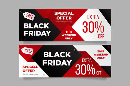 Black friday banners in red and black colors