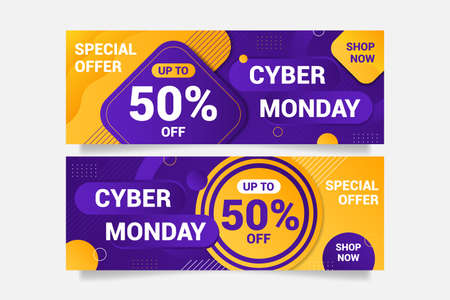 Abstract colorful sales banner background concept. Cyber monday banner