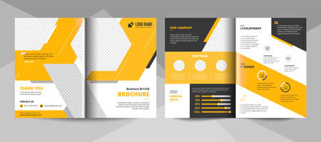 Yellow business brochure template. Corporate business flyer template.