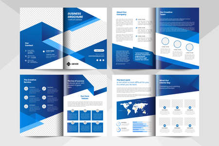 8 page corporate business brochure template in blue color. Corporate business flyer template.