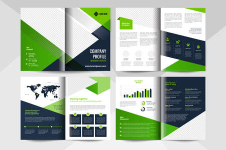 8 page corporate business brochure template. Corporate business flyer template. Stock Illustratie