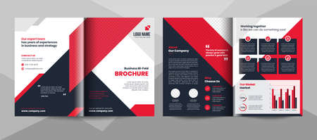 Red and black business bifold brochure template. Corporate business flyer template.