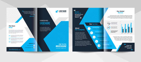 Blue and black corporate business brochure template. Corporate business flyer template.