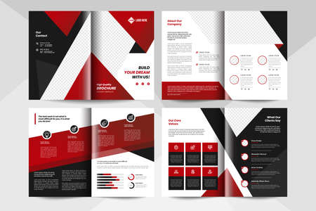 Red corporate business brochure template. Corporate business flyer template.