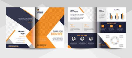 Business bifold brochure design template. Corporate business flyer template.