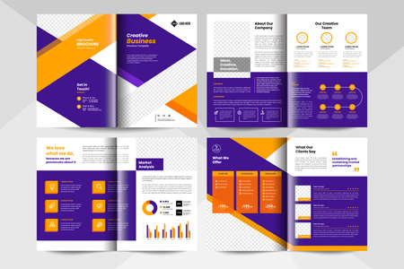 8 pages creative business brochure template. Corporate business booklet template. Stock Illustratie