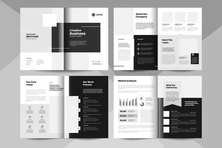 8 pages business brochure template. Corporate business booklet template. Stock Illustratie