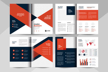 Creative business brochure layout template. Corporate business booklet template. Stock Illustratie