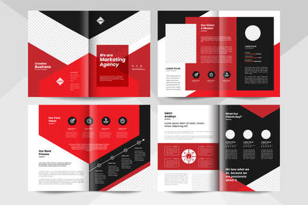 Black and red business brochure design template. Corporate business booklet template.