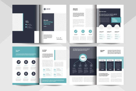 8 pages multipurpose brochure design layout. Corporate business booklet template.