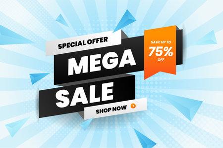 Mega sale discount banner promotion 矢量图像