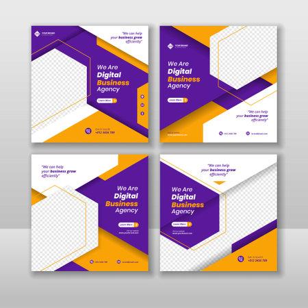Digital business marketing social media post and web banner 矢量图像