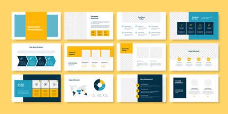 Business minimal slides presentation template 矢量图像
