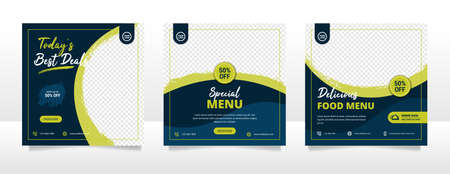 Food social media post and promotion banner design template Stock Illustratie