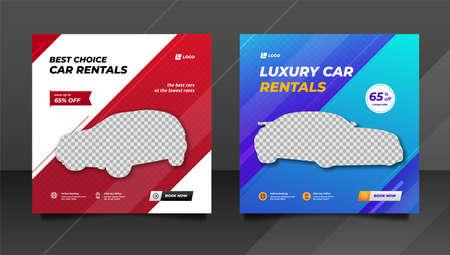 Car rental promotion social media post banner template.