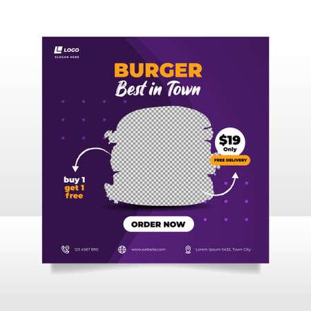 Food social media post and promotion banner design template. Burger banner design template.