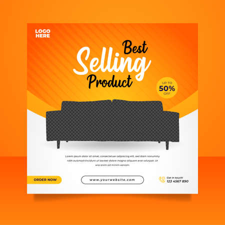 Creative furniture sale banner or social media post template