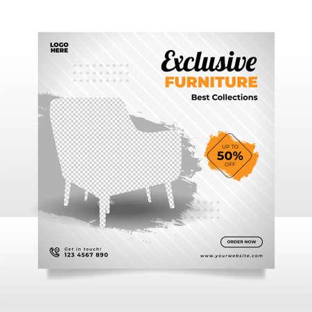 Minimalist furniture sale banner or social media post template Ilustración de vector