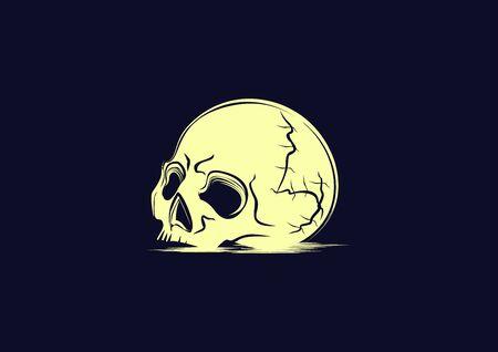 skull on a blue navy background in vector illustration