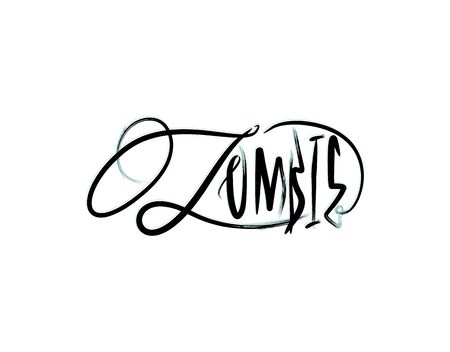 Zombie lettering text on white background in vector illustration Vectores