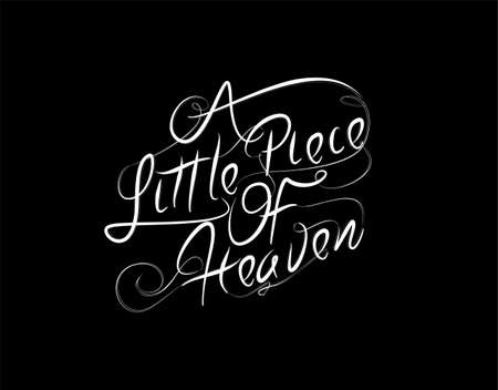 A Little Piace Of Heaven Lettering Text on Black background in vector illustration  イラスト・ベクター素材