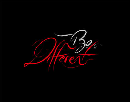Be Different Lettering Text on Black background in vector illustration
