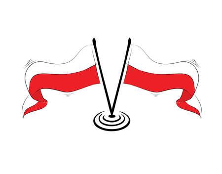 Poland Flag on white background in vector illustration