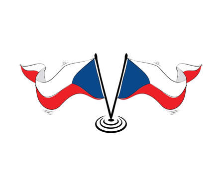 Czechoslovakia flag on white background in vector illustration Ilustração