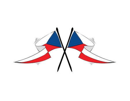 Czechoslovakia flag on white background in vector illustration 向量圖像