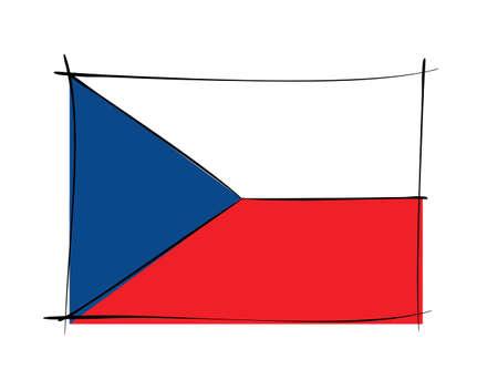 Czechoslovakia flag on white background in vector illustration Ilustração