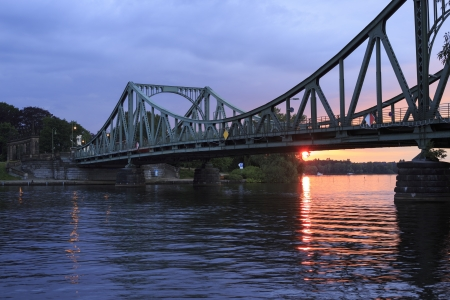 swaps: The Glienicker bridge   Glienicker Br�cke  connects Potsdam with Berlin  This symbol of the German diversion is well known for the spy swaps during the Cold War Stock Photo