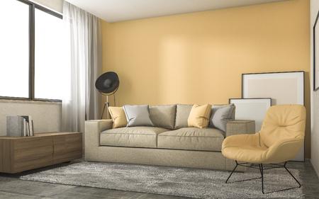loft living: 3d rendering yellow loft living room with minimal decoration Stock Photo