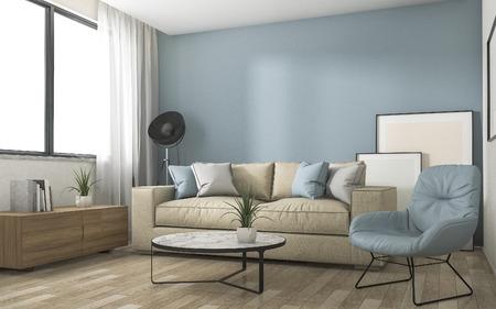 素敵な家具の 3 d レンダリング青い装飾リビング ルーム