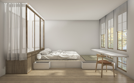 3d rendering japanese style bedroom with minimal decoration