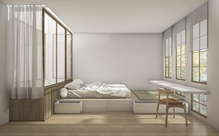3D-rendering Japanse stijl slaapkamer met minimale decoratie Stockfoto