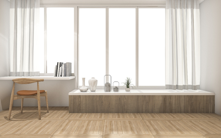 3d rendering white wall and wood floor with minimal decoration 스톡 콘텐츠