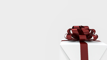 minimal: 3d rendering white square gift box with red ribbon