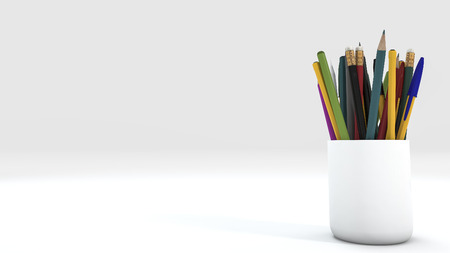 3d rendering close up color pencil in white cup