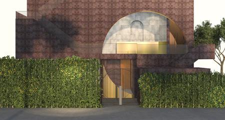 3d rendering vertical green wall garden in front of nice red brick building