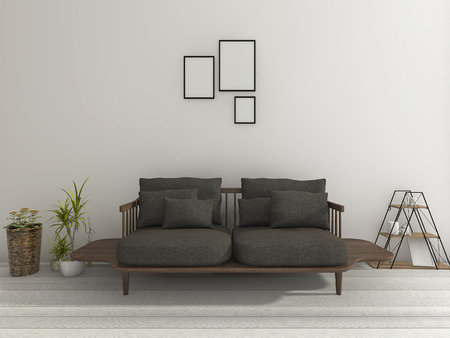 contemporary living room: 3d rendering beautiful soft black sofa with plant in nice living room Stock Photo