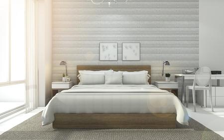 glare: 3d rendering sweet nice minimal white bedroom with sun glare