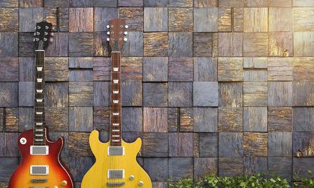 par representación 3D de la guitarra eléctrica cerca de la pared romántica