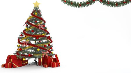 minimal: 3d rendering christmas tree and gift decoration in white background Stock Photo