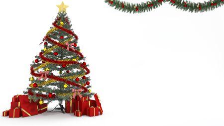 3D-weergave kerstboom en cadeau decoratie op witte achtergrond