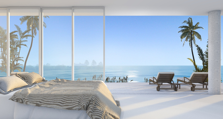 3d rendering luxury villa bedroom near beach and palm tree with beautiful morning scene from window Stok Fotoğraf